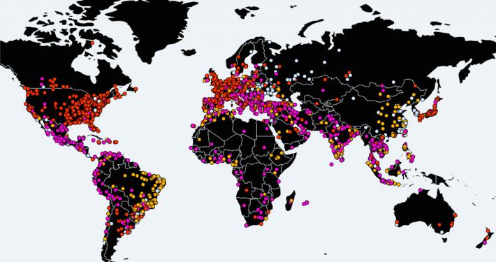 Mapa de MalwareTech con las infecciones detectadas. Fuente: https://intel.malwaretech.com