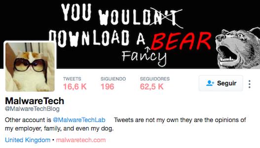 Perfil en Twitter de MalwareTech